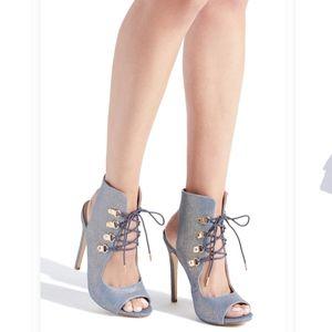 Fleur Lace Up Heeled Dress Sandals Coated Denim
